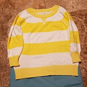 NWOT yellow stripe sweater